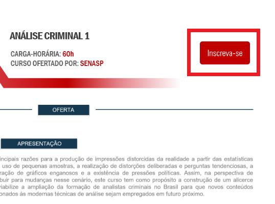 Inscrição SENASP 2021