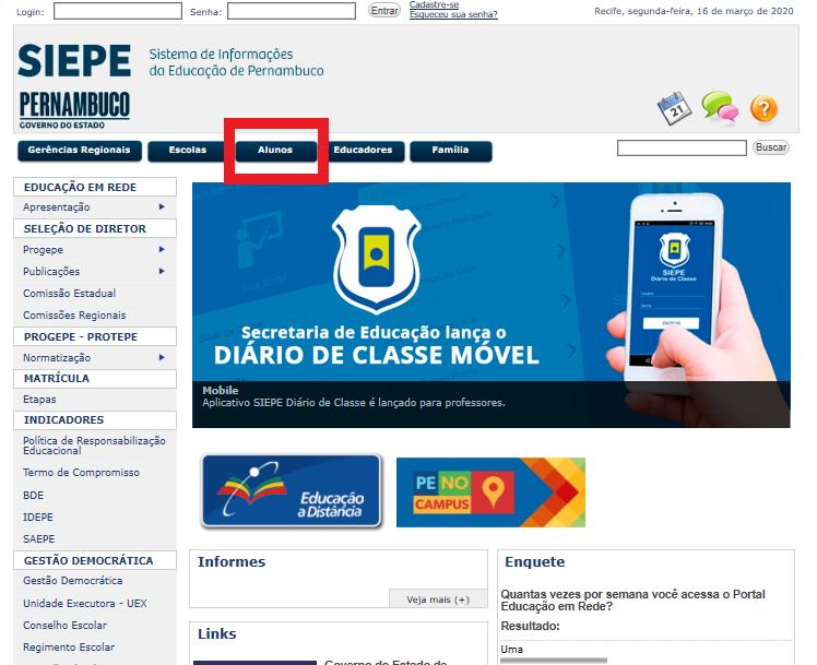 acesso site SIEPE