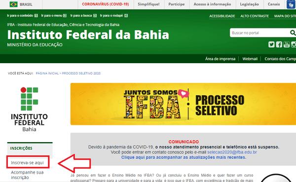 Como fazer Inscrição IFBA 2021?