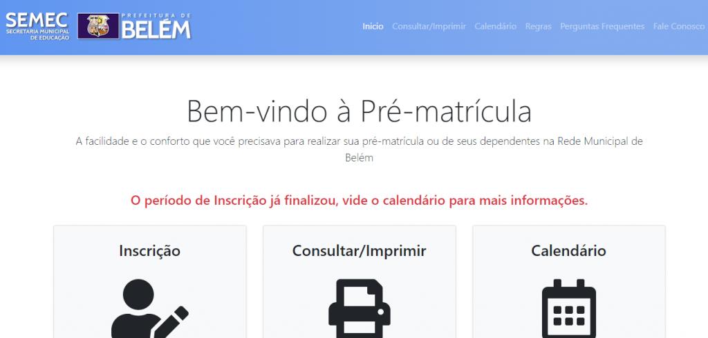 Matrícula Belém 2022: Inscrição